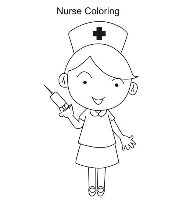 Nurse chasing kid with needle clipart free google search for Nurse coloring page
