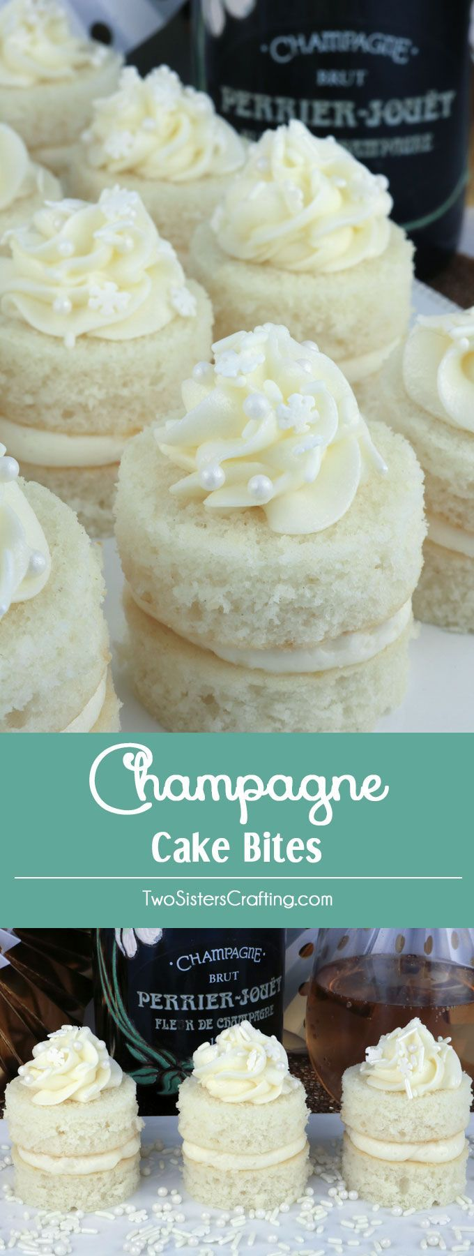 Champagne Cake Bites - a unique take on a traditional cupcake this fun dessert will wow the guests at your next party or grown-ups only family get-together.  A great dessert idea and a unique take on a cupcake. Super easy to make, they will be a big hit on your Christmas dessert table or at your New Year's Eve Party. Pin this fun Holiday treat for later and follow us for more Christmas food ideas. #ChristmasDesserts #ChristmasTreats #NewYearsEveFood via @2SistersCraft