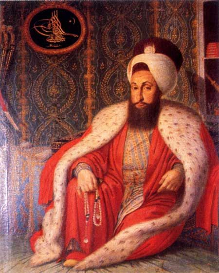 Portrait of the Ottoman sultan Selim III (1761-1808). In the left upper corner: his tughra (official seal). The painting, dated 1803, is by Konstantin Kapidagli.