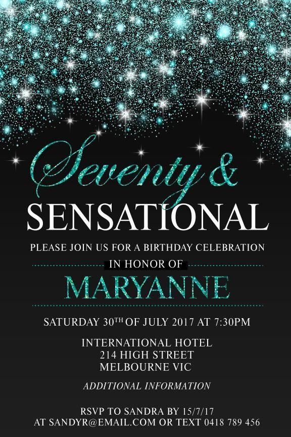 70th birthday party invitation digital printable template jade