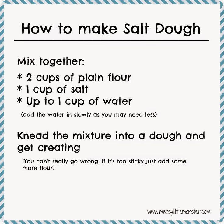 How to make salt dough recipe.  Simple printable recipe and salt dough craft ideas for kids.