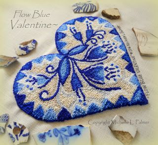 Michelle Palmer punch needle pattern Flow Blue Valentine heart shape design. Inspired by vintage blue china