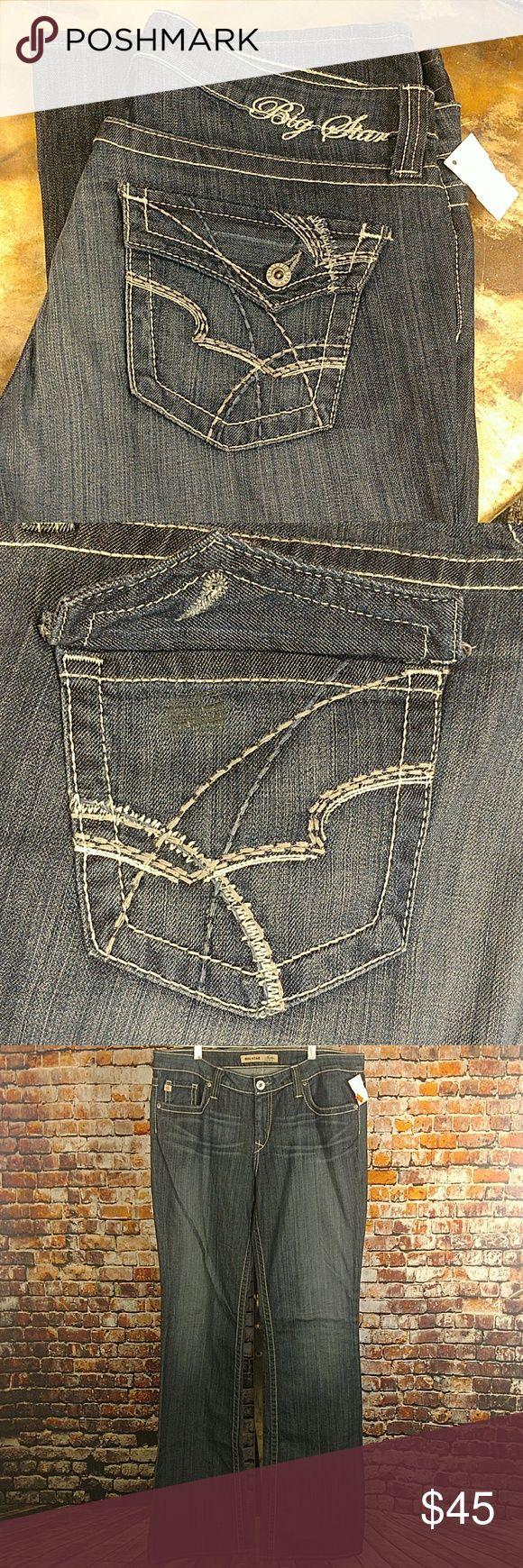 "NWT Big Star Denim Jeans 34 XXL New with tags Big Star denim jeans with embroidered pockets. Sold as irregulars, missing one back pocket button.  36"" waist, 10"" rise, 38"" inseam. Maddie Mid Rise Fit Big Star Jeans Boot Cut"