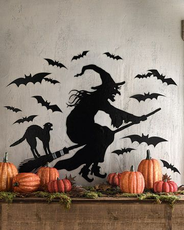 Witch and black cat on broomstick vinyl sticker. Wall mural.