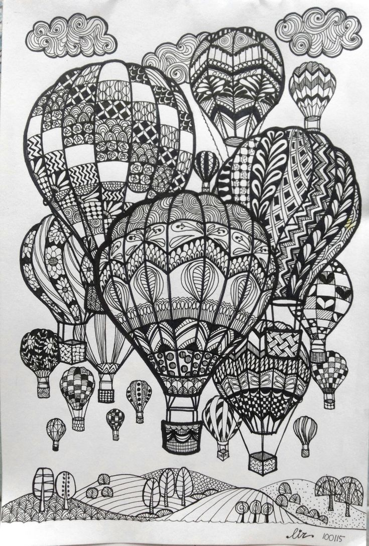 Scribble Drawing In Art Therapy : Hot air balloons doodle art and zentangle