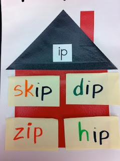 Word family word sort using Post-it-Notes.  Put up on a wall or in a basket for children to choose and sort.