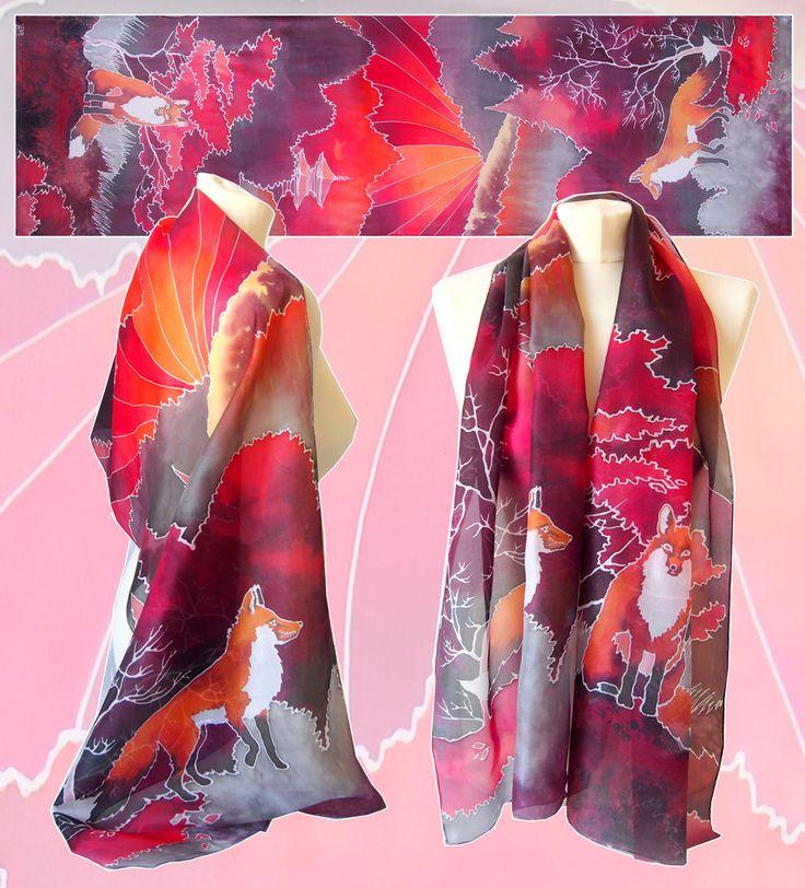Fox silk scarf painted by Luiza Malinowska #minkulul