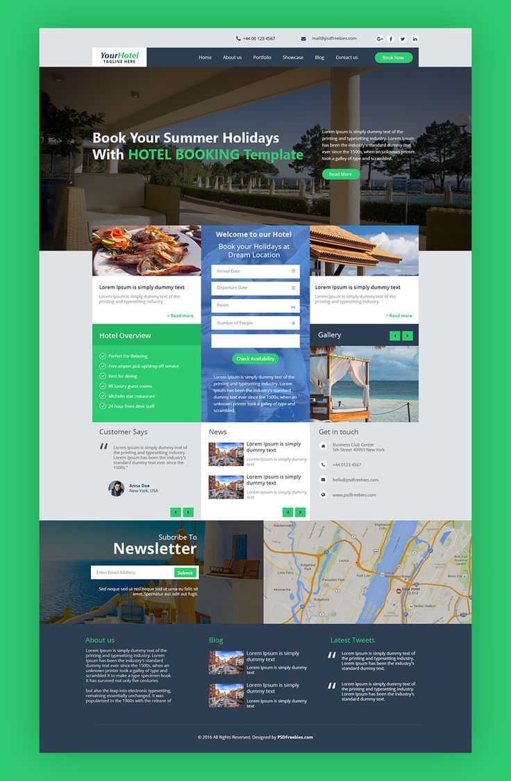 Nice Hotel and Resort Booking Website Template Free PSD