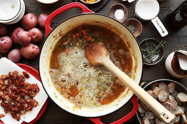 Bratwurst, Beer & Cheddar Pretzel Pot Pie - The Candid Appetite   Food ...