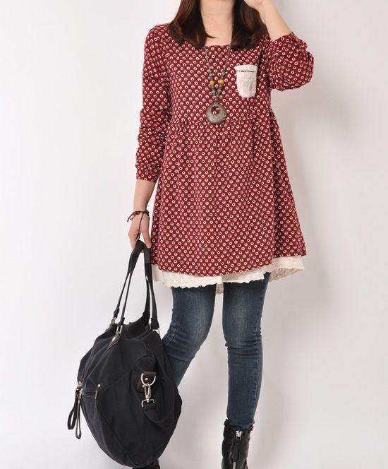 Purple Red cotton dress Long sleeve dress by originalstyleshop, $58.00
