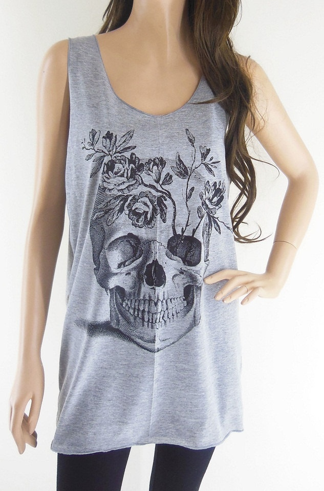Skull Flowers Art Design Zombie Tank Top Women T-Shirt Skull Shirt Gray T-Shirt Tunic Screen Print Size M. $15.99, via Etsy.