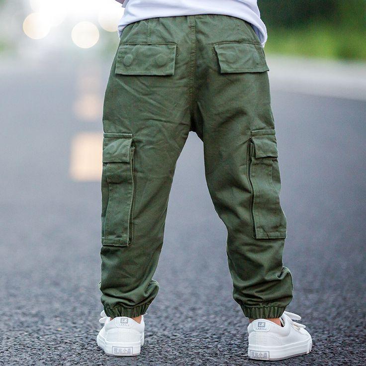 Marca niños boy pantalones cargo pantalones de invierno y otoño baby boy ocio de algodón verde del ejército pantalones bolsillo pantalones de los cabritos 1-6 años