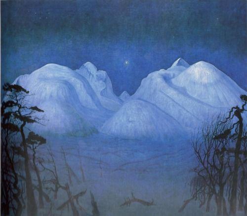 Harald Sohlberg (Norwegian, 1869-1935) Vinternatt i fjellene ( Winter Night in the Mountains), 1911-14 Oil on canvas