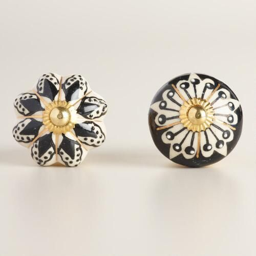One of my favorite discoveries at WorldMarket.com: Black and White Ceramic Knobs Set of 2