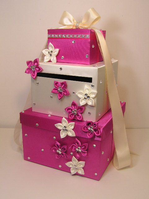 Hot Pink and White Wedding Card Box Gift Card Box by bwithustudio, $120.00