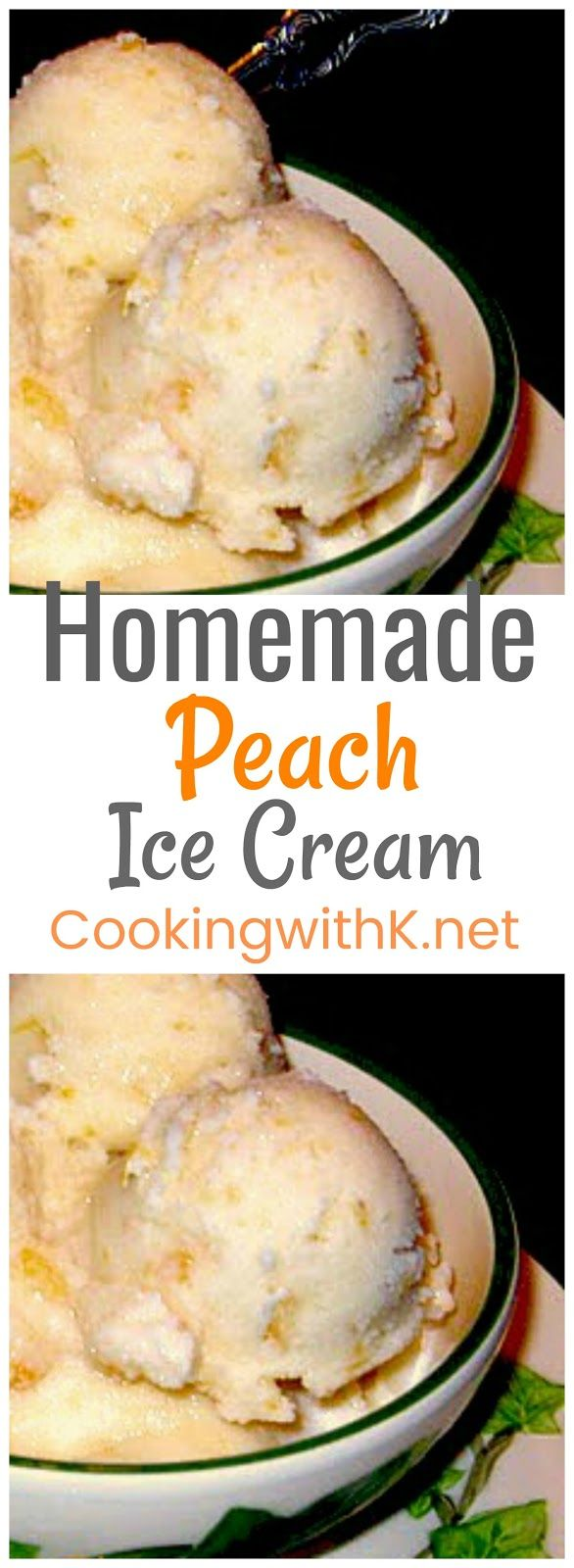 Homemade Peach Ice Cream, bits of chopped peaches swirled in a rich homemade vanilla ice cream mixture made with sweetened condensed milk. Now you know why it is a family favorite.