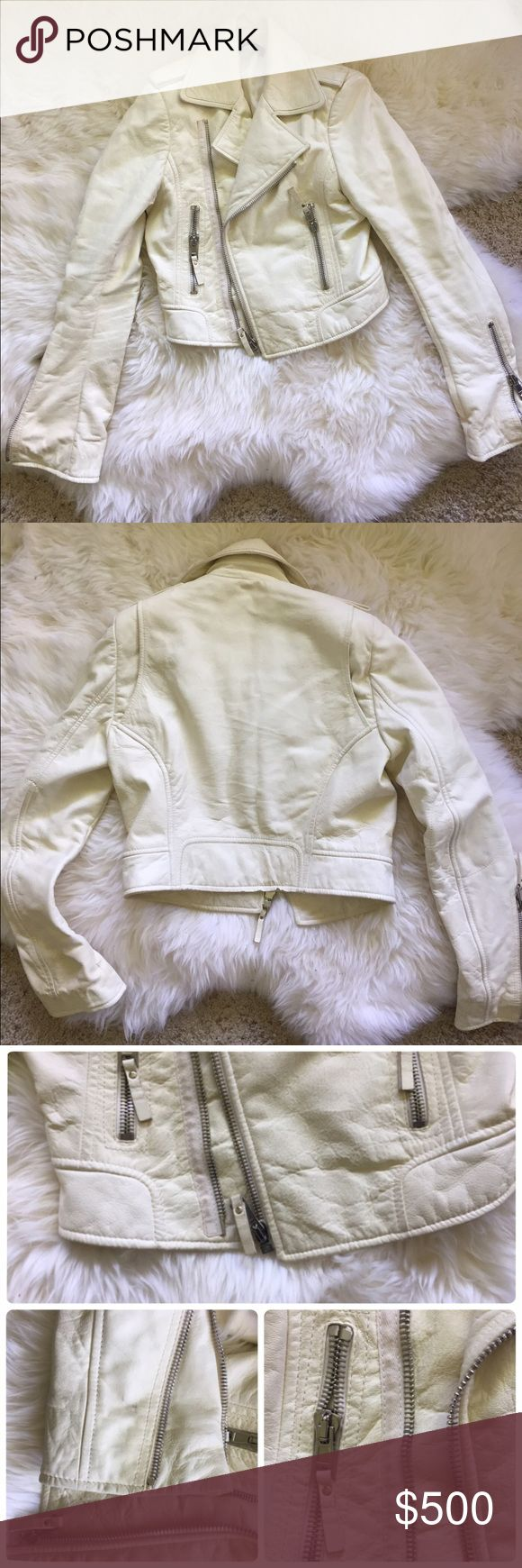 Authentic Balenciaga leather jacket white S-M Authentic Balenciaga leather jacket! Super cool and classy! If you are looking for a leather jacket, this is the one! This is one of the most wanted Balenciaga leather jackets! The leather is so soft and nicely done! Thick jacket. Great piece for most of the year! The jacket is good condition overall. Some marks on the jacket and kinda dirty. Professional cleaning needed if  you mind. Or just put it in as it is. :) Balenciaga Jackets & Coats