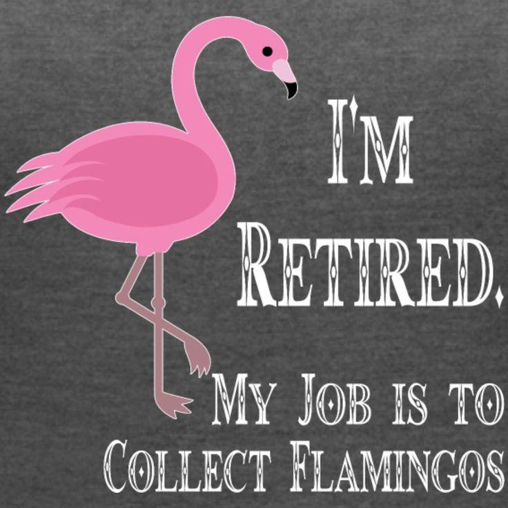 I m retired my job to collect flamingos - Women's V-Neck Tri-Blend T-Shirt