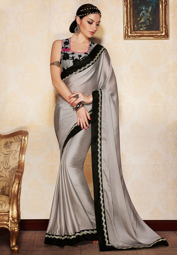 Patch Border Satin Georgette Saree in Grey
