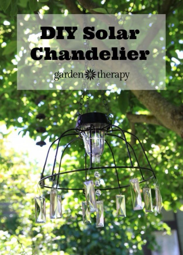 DIY Chandelier Ideas and Project Tutorials - DIY Solar Light Chandelier - Easy Makeover Tips, Rustic Pipe, Crystal, Rustic, Mason Jar, Beads. Bedroom, Outdoor and Wedding Girls Room Lighting Ideas With Step by Step Instructions http://diyjoy.com/diy-chandelier-ideas