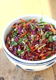 Can't believe how GOOD this recipe sounds! Garden Salad Coleslaw with Asian-style Dressing by SeasonWithSpice.com