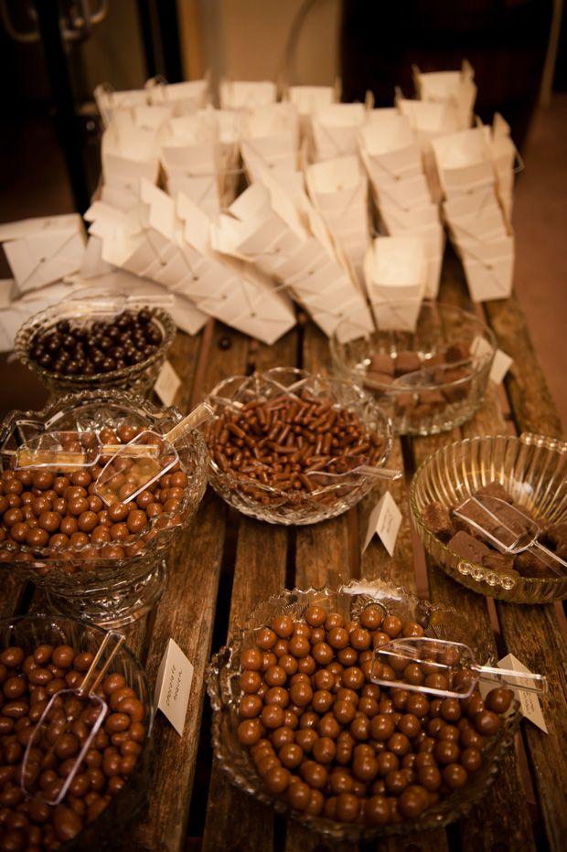 Chocolate for wedding favors. Rustic wedding inspiration. Jade Norwood Photography. http://jadenorwood.com