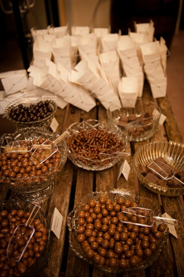 Chocolate for wedding favors. Rustic wedding inspiration. Cute, fill your own take out container. Could also work with other treats.