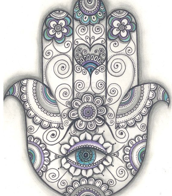 Print created from an original drawing by Daniela Ruseva- Dhana. Hamsa hand Print, Hand of Fatima Door Blessing Print, Door Blessing Drawing,