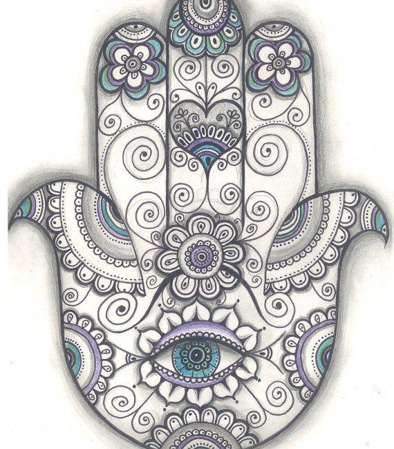 Print created from an original drawing by Daniela Ruseva- Dhana. Hamsa hand Print, Hand of Fatima Door Blessing Print, Door Blessing Drawing,