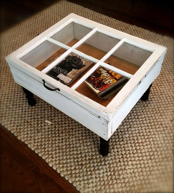 Reclaimed wooden window now used as a coffee table with plenty of storage. Large eight pane window was salvaged from an early to mid 1900s home in Virginia.