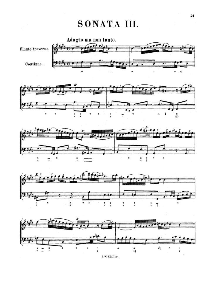 Мажор для бах соната ноты флейты до