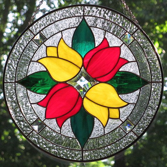 Stained+Glass+Red+and+Yellow+Tulips+Round+by+LivingGlassArt,+$145.00