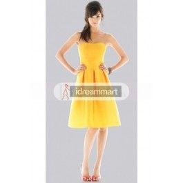 This dress is so beautiful. The price is also right! Daffodil Satin Junior Bridesmaid Dresses with Strapless Neckline