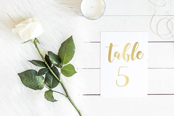 DIY Printable Gold Wedding Table Number | Calligraphy Script | Wedding Stationery and Table Decorations
