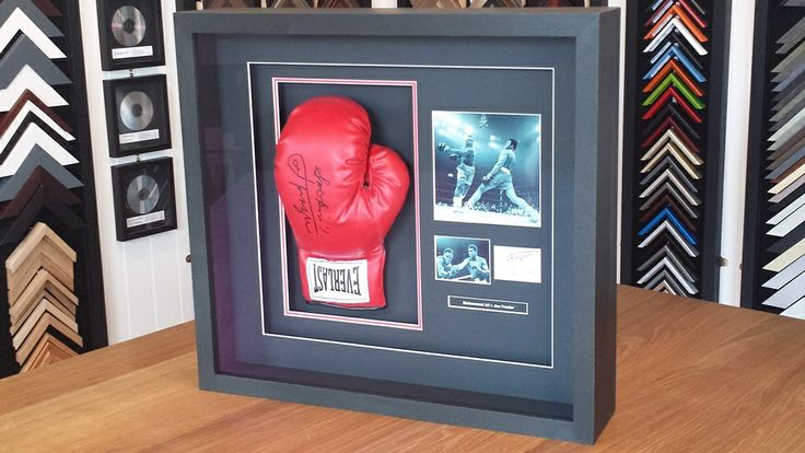 We recently framed a signed boxing glove, including a three layer mount and low-reflection glass.