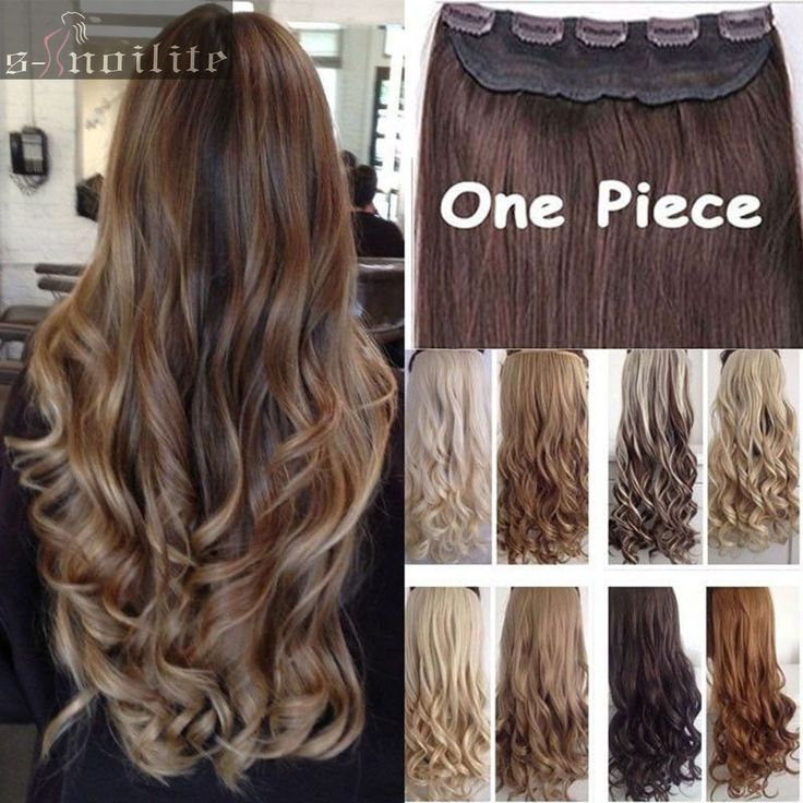 "Long Clip in Hair Extension half full head 100% real natural hair Extentions 24"" Curly/Wavy USA Local Warehhouse Fast Free Ship"