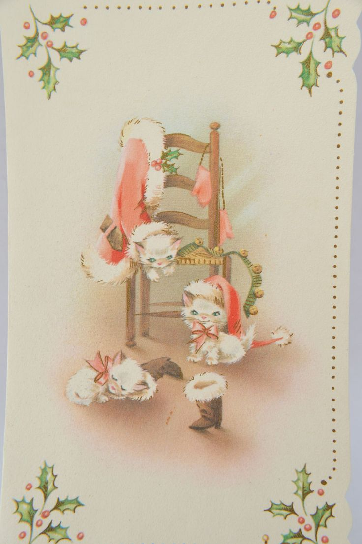 Vintage Christmas Card Kittens Playing with Santa's Suit FOR SALE • $1.99 • See Photos! Money Back Guarantee. Three kittens getting into some mischief with Santa's suit. There is also a single kitten in Santa's hat on the back. The card is in very good vintage condition and 262632030224