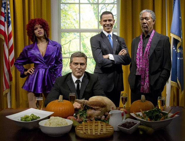 Happy Thanksgiving ! Madame Tussauds, le Grévin londonien, a imaginé la table de Barack Obama pour le dîner de Thanksgiving