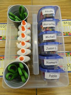 Each Gladware container holds a student's crayons. The cups with scissors are velcro-ed to the caddy to keep them from sliding. Tape a copy of this picture to the side of the caddy so the kids can reference it when cleaning up