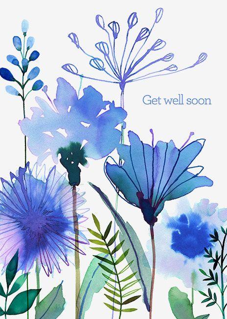 Margaret Berg Art: Blue+Wildflowers+Get+Well+