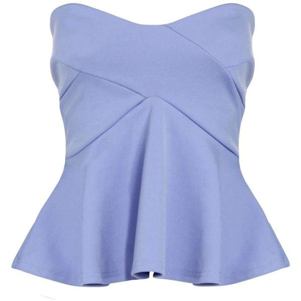 Jasmine Strapless Seam Detail Peplum Top ($6.24) ❤ liked on Polyvore featuring tops, shirts, shirt top, blue strapless top, blue peplum shirt, peplum shirt and peplum tops