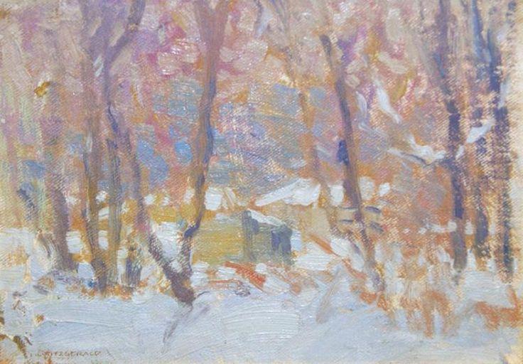"""Near home (Winnipeg),"" Lionel Lemoine Fitzgerald, 1917, oil on panel, 6.25 x 9"", private collection."