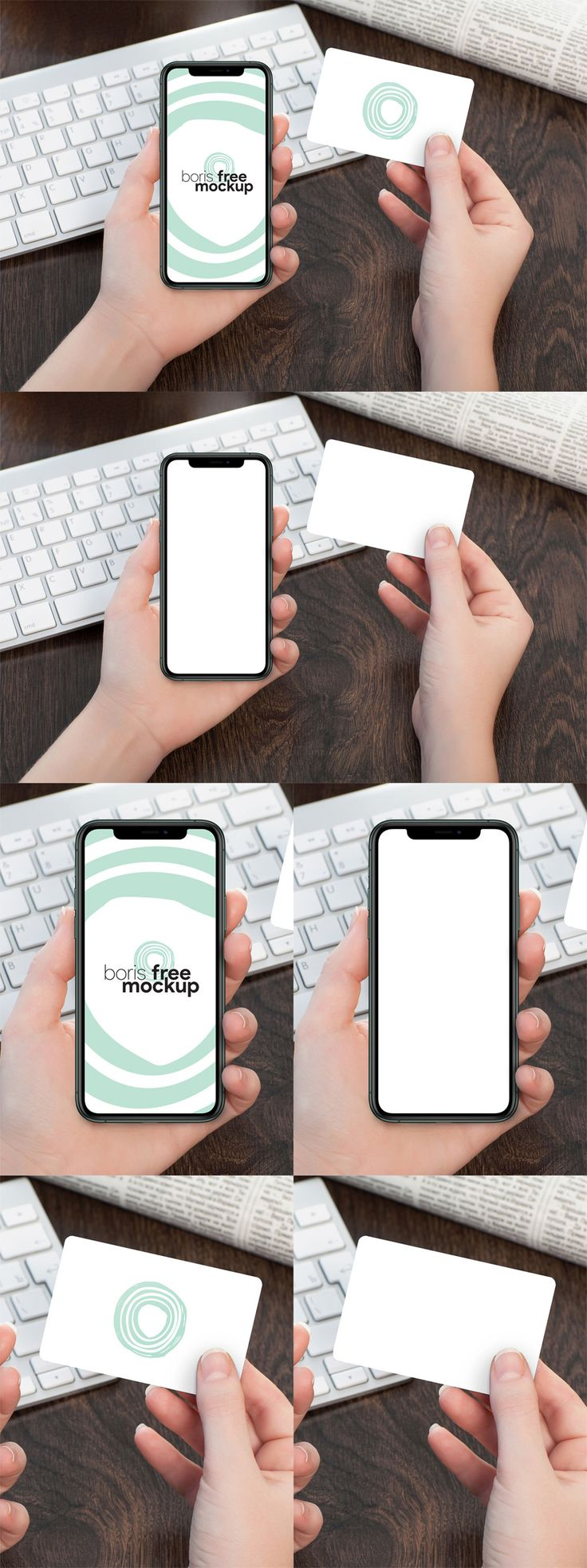 Free hand holding iphone 11 pro max credit card mockup