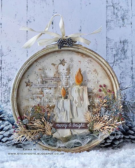 Merry & Bright vintage wall-hanging project by Emma Williams #sizzix #timholtz #diyhomedecor #christmas