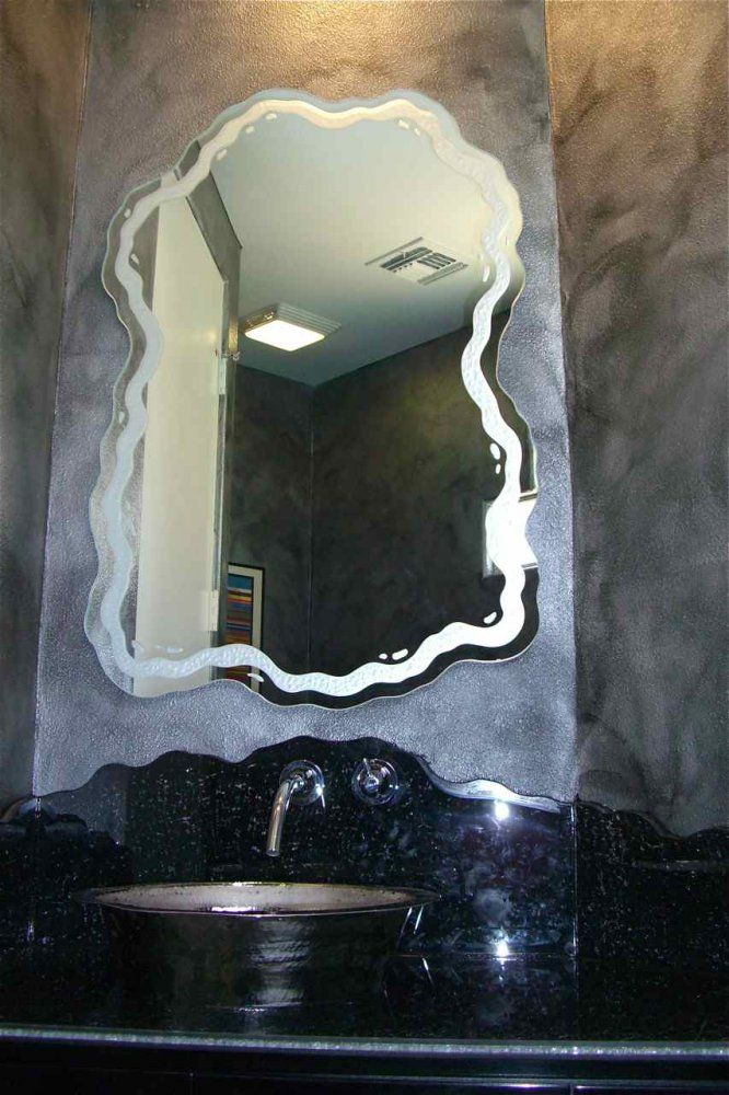 Free Flow Design Etched And Carved Glass Mirror Etched Glass Mirrors