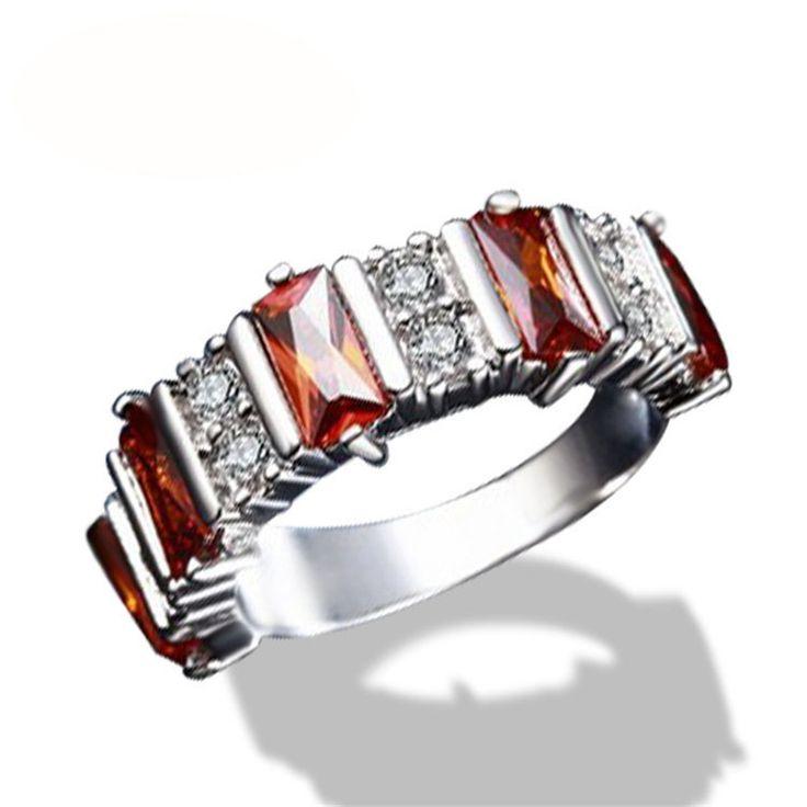 Fashion Anillo Luxury Women Engagement Jewelry Female Bijoux Wedding Finger Ring Garnet Baguette CZ Rings For Party Girls LSR287