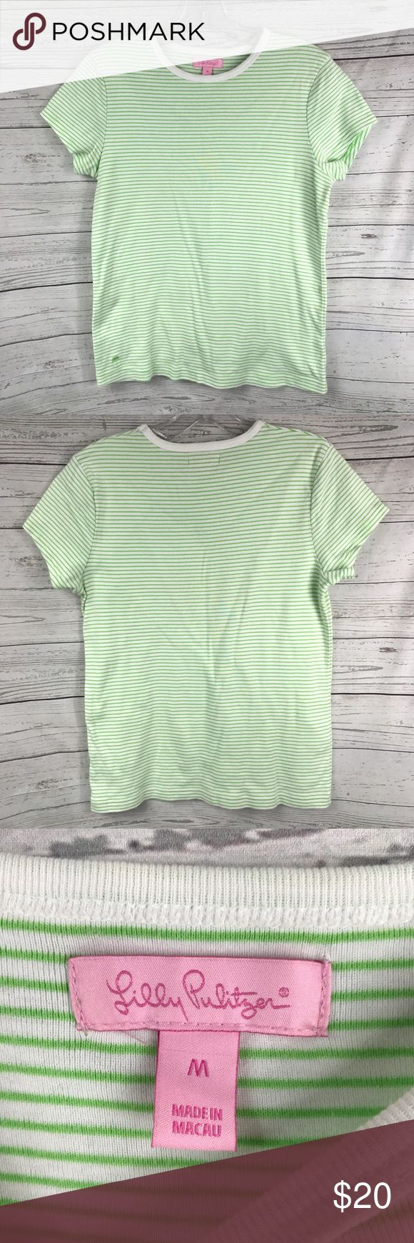 "Lilly Pulitzer striped short sleeve top Size medium. Armpit to armpit: 18"". There is a tiny little stain, but other than that it is in great condition. See pictures for details. Lilly Pulitzer Tops Tees - Short Sleeve"
