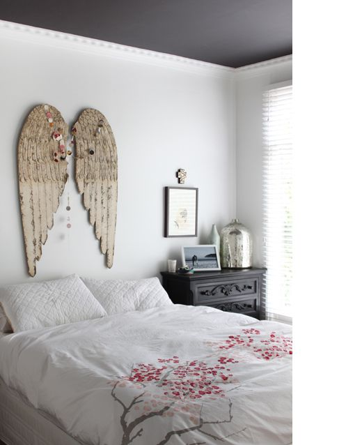 angel wings ,  cherry blossom bedding #romanticbedrooms  The Design Files