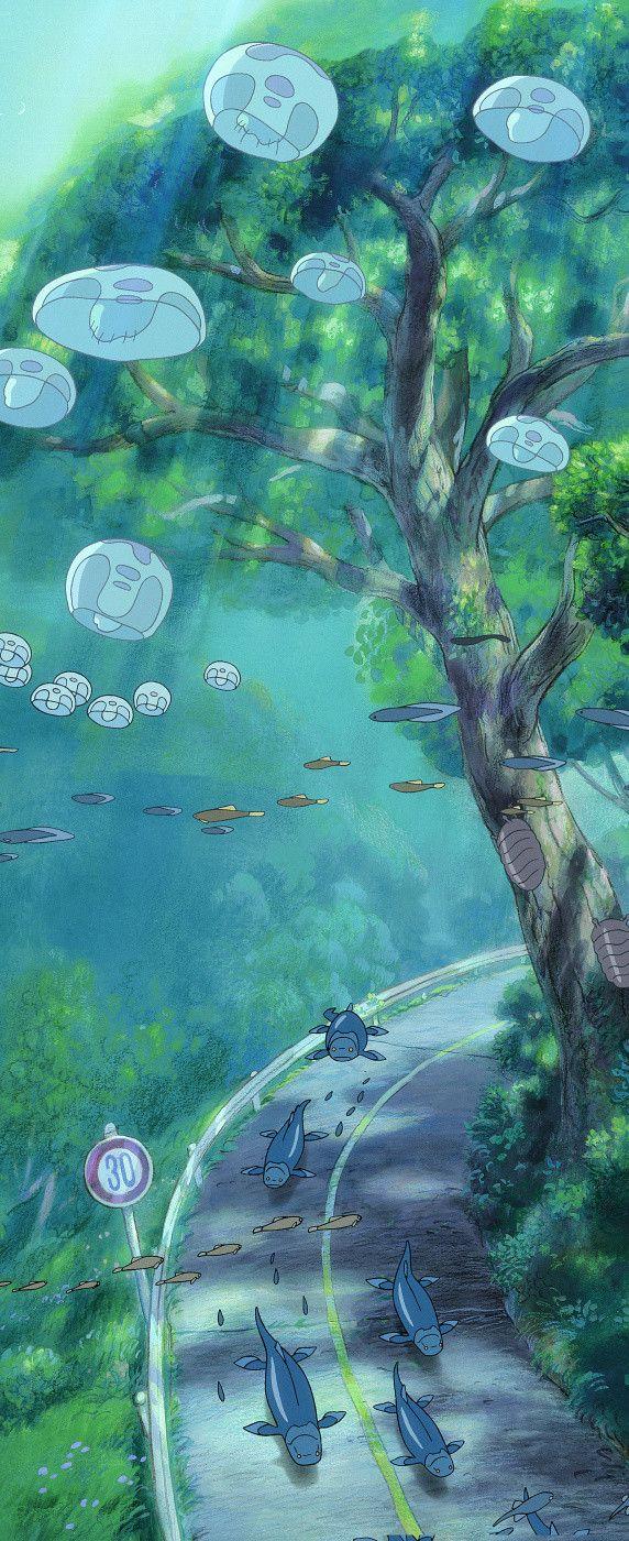 Tags: Anime, Fish, Ocean, Street, Gake no Ue no Ponyo, Scenery, Studio Ghibli