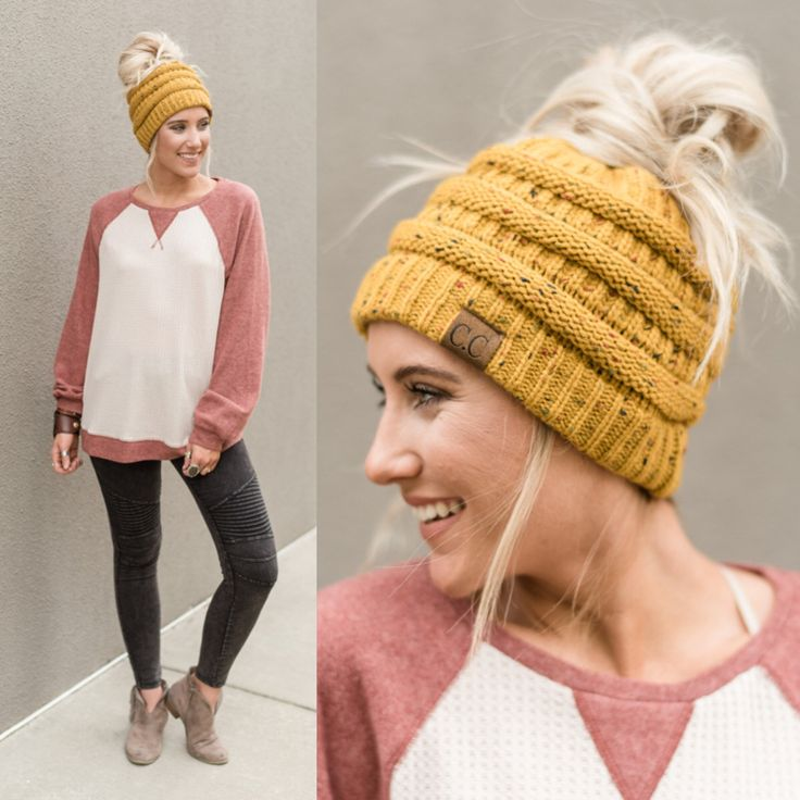 Messy Bun Beanies! Solve ALL Hair Woes — We're obsessed! Messy hair? Slip on this knitted beanie and pull your hair thru to make a gorge look for Fall.  *** Tutorial on Our Facebook Page www.facebook.com/threebirdnest ***